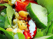 Fresh Classic Green Salad with Tomatoes, Cucumber, Seasoned Bread Crumbs