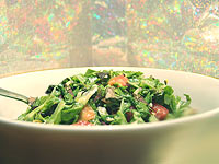 Here we've created a chopped salad with baby greens. Chopping and tossing with dressing allows for slight wilting. So easy to eat! And, enjoy. : )