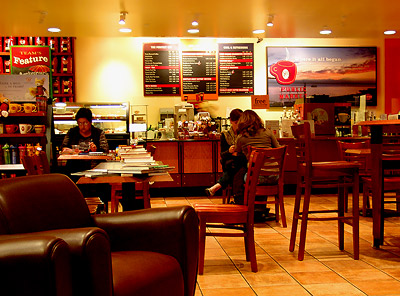 Borders coffee shop late at night...