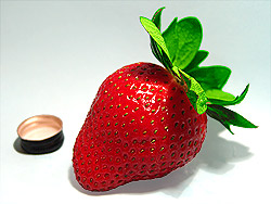Possibly the best tasting strawberry in the world. Pesticide free... Bottle cap for sizing.